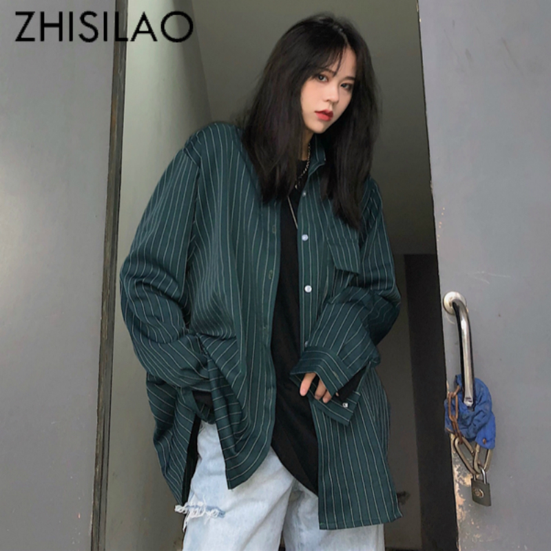 Long Stripe Women Blouse Plus Size Loose Long Sleeve Shirt Women Street Harajuku Blouse Maxi Oversize Shirt Mujer Boyfriends
