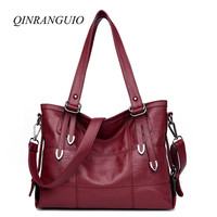 QINRANGUIO Bags Handbags Women Famous Brands Vintage Women Leather Handbags 2018 Bag Women Handbags Top handle Women Bag