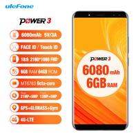Ulefone Power 3 4G Smartphone 6080mAh MT6763 Octa Core Face ID 21MP Four Camera 6G 64G