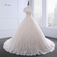 Dream Angel Short Sleeve Boat Neck Flowers Wedding Dress 2018 Sexy Appliques Beaded Vintage Bride Gown