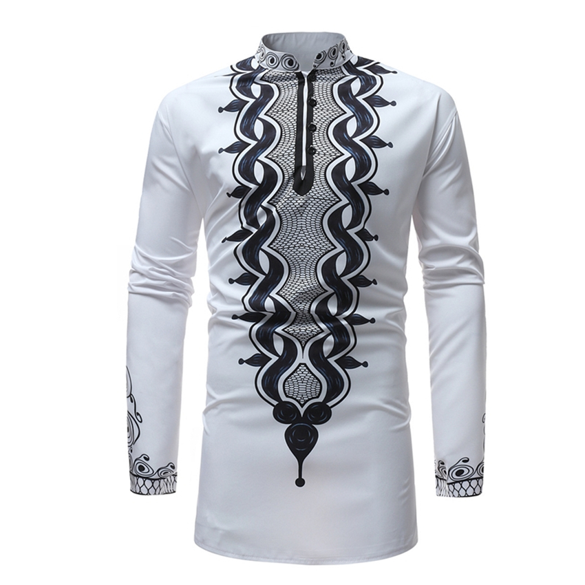 2019 Men Africa Clothing Rich Bazin Dashiki Printing African Dresses for Man Traditional Long Sleeve Shirt Clothes Robes