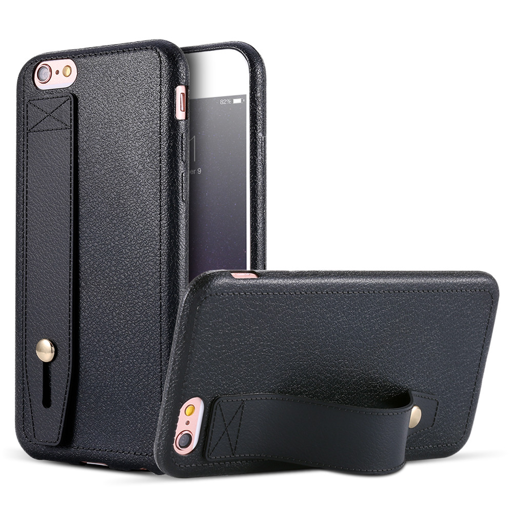 For iPhone 6 6S 7 8 Plus Case Luxury PU Leather Flexible Hand Holder Stand Support Silicone Phone Case For iPhone 5 5S SE Cover
