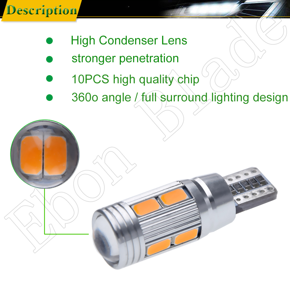 Image 5 - 2/4 Pcs T10 W5W 194 168 Car LED Light 5630 10SMD Canbus Error Free Auto Interior Side Turn Bulb Lamp Amber Yellow Oragne 12V DC-in Signal Lamp from Automobiles & Motorcycles