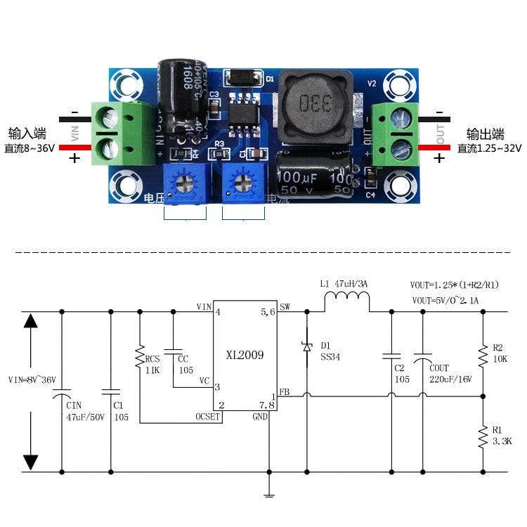 2A DC-DC 1.25-30V 12V Step-down CC CV Power Board 18650 Battery Charging Control