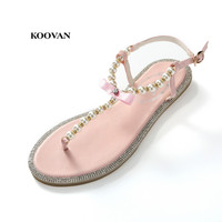 2015 Summer New Fashion Shoes Bow Diamond Pearl Genuine Leather Women Sandals Flat Sandals Women Shoes