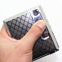 Nieuwe 1 stks-Slide Up roestvaststaal Zilver sigaret hold 20 stks Automatische Sigaret doos/pocket Met USB Lichtere Draagbare