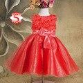 2016 Cabritos Del Verano Vestido de la Muchacha de Rose Petal Sin Mangas Arco Vestido de la Princesa Niña 2-8 Años Los Niños de La Boda de Cumpleaños Ropa de fiesta