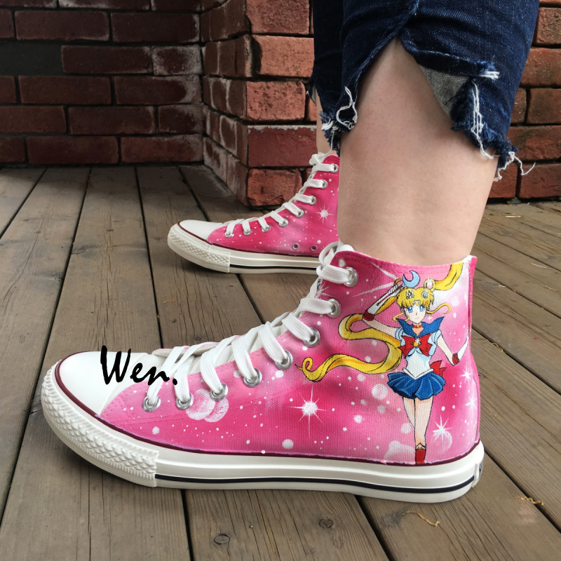 Wen Pink Anime Hand Painted Sneakers Design Custom Sailor Moon Women Men's High Top Canvas Shoes Especially for Woman Girls hot for asus x551ca laptop motherboard x551ca mainboard rev2 2 1007u 100% tested new motherboard