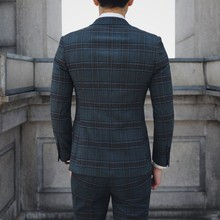 British Style Terno Slim Fit 3-piece Set Terno Masculino Plaid Suits Vintage Suits Mens Dinner Jackets Mens Suits