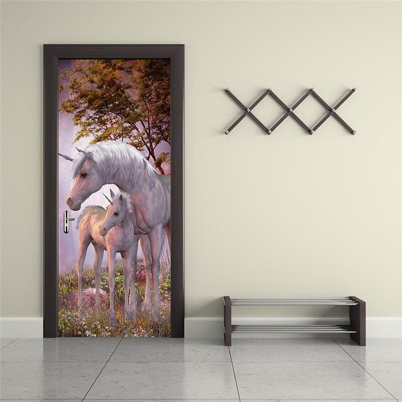 Image 3 - Mystery Animal White Unicorn European Home Decoration 3D Door Stickers The Door Stick Kids Room Art Decal Decoration For Doors-in Door Stickers from Home & Garden