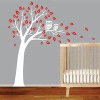 Hot Koop Nursery Boom Patroon Art Muurstickers Met Uilen Leuke Zoete Kinderen Slaapkamer Decoratieve Muurschilderingen Vinyl Decal Wm-573