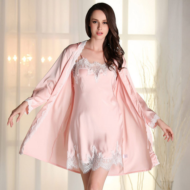 Women Dress Silk Robes Gown Sets Sexy Lace Female Lingerie Set Women's Sleepwear Nightwear 2 Pieces Sleep Suits Ladies
