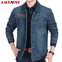LONMMY M 3XL Denim Jacket Men 80 Cotton Plush Liner Thickening Warm Military Jeans Jacket Men