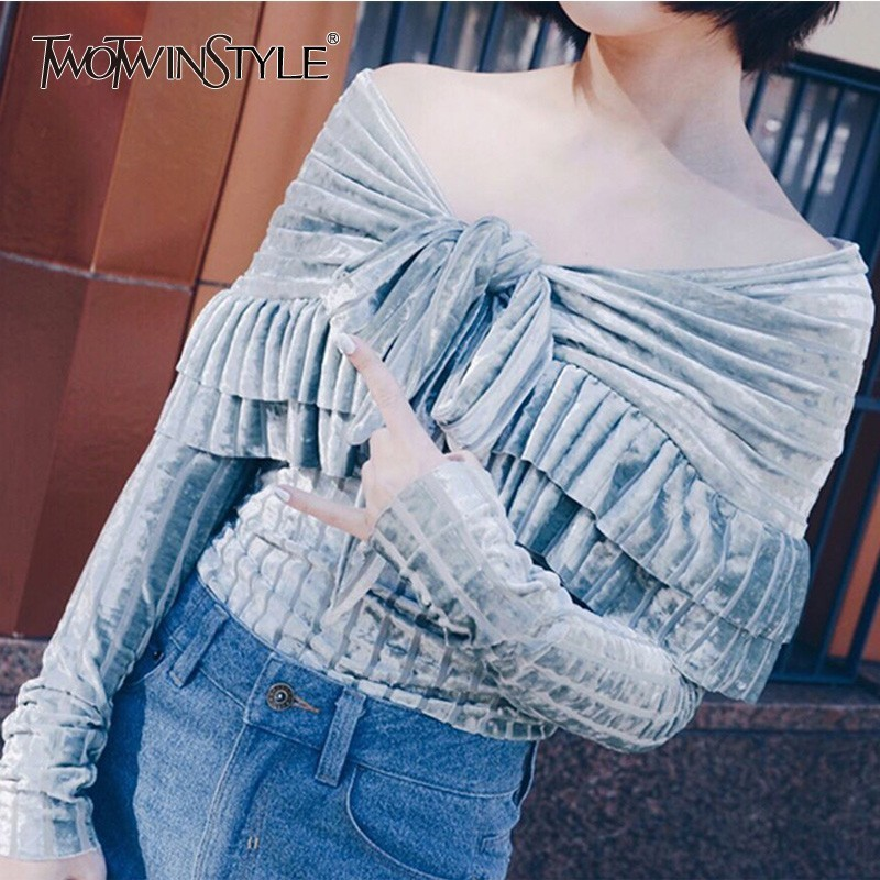 TWOTWINSTYLE Autumn Bodysuit For Women Slash Neck Off Shoulder Bow Lace Up Women's Bodysuits Fashion Sweet Clothing Tide 2019