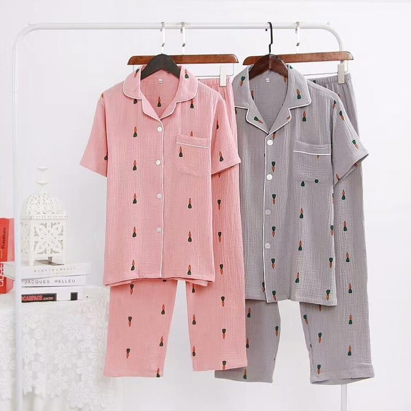 Cotton pleated couples pajamas set summer half sleeve carrot pattern pajamas unisex pajamas 2019 new home clothing pijama mujer in Pajama Sets from Underwear Sleepwears