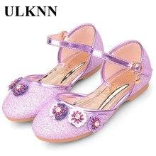 ULKNN 2017 Nouveau Mode Enfants Sandales Filles Chaussures Pour Enfants Parti Fleurs Strass Glitter Plat Sandales Cristal Violet Or