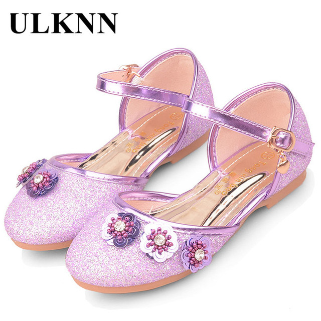 544d5cc713e9 ULKNN 2018 New Fashion Children Sandals Girls Shoes For Kids Party Flowers  Rhinestone Glitter Flat Sandals Crystal Purple Gold