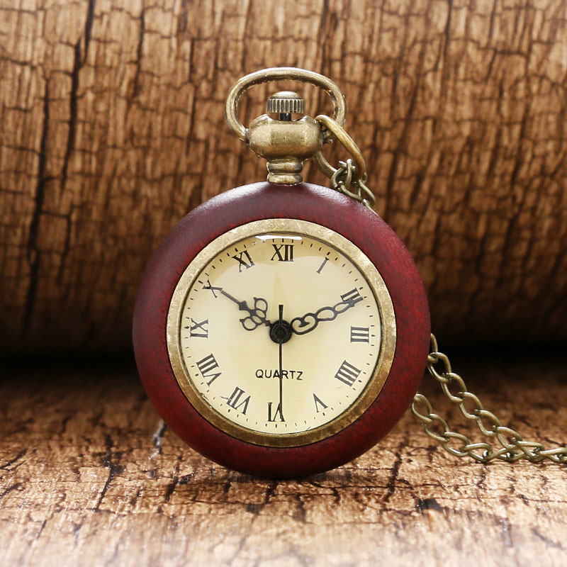 Antique Pocket Watch Red Wood Case Transparent Glass Ball Shape Slim Chain Retro Sweater Necklace Nurse Watches Gift for Friends unique smooth case pocket watch mechanical automatic watches with pendant chain necklace men women gift relogio de bolso