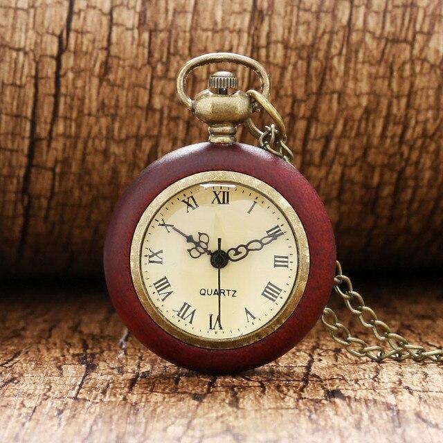 Antique Pocket Watch Red Wood Case Transparent Glass Ball Shape Slim Chain Retro