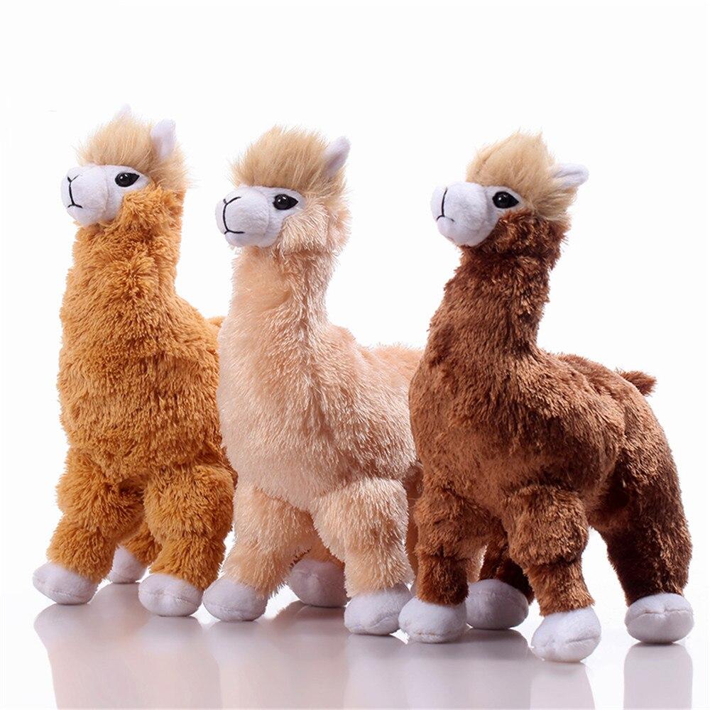 Fancytrader Realistic Alpaca Plush Toy Decoration Props Simulated Plastic&Fur Alpaca Doll 30cm 3 Colors
