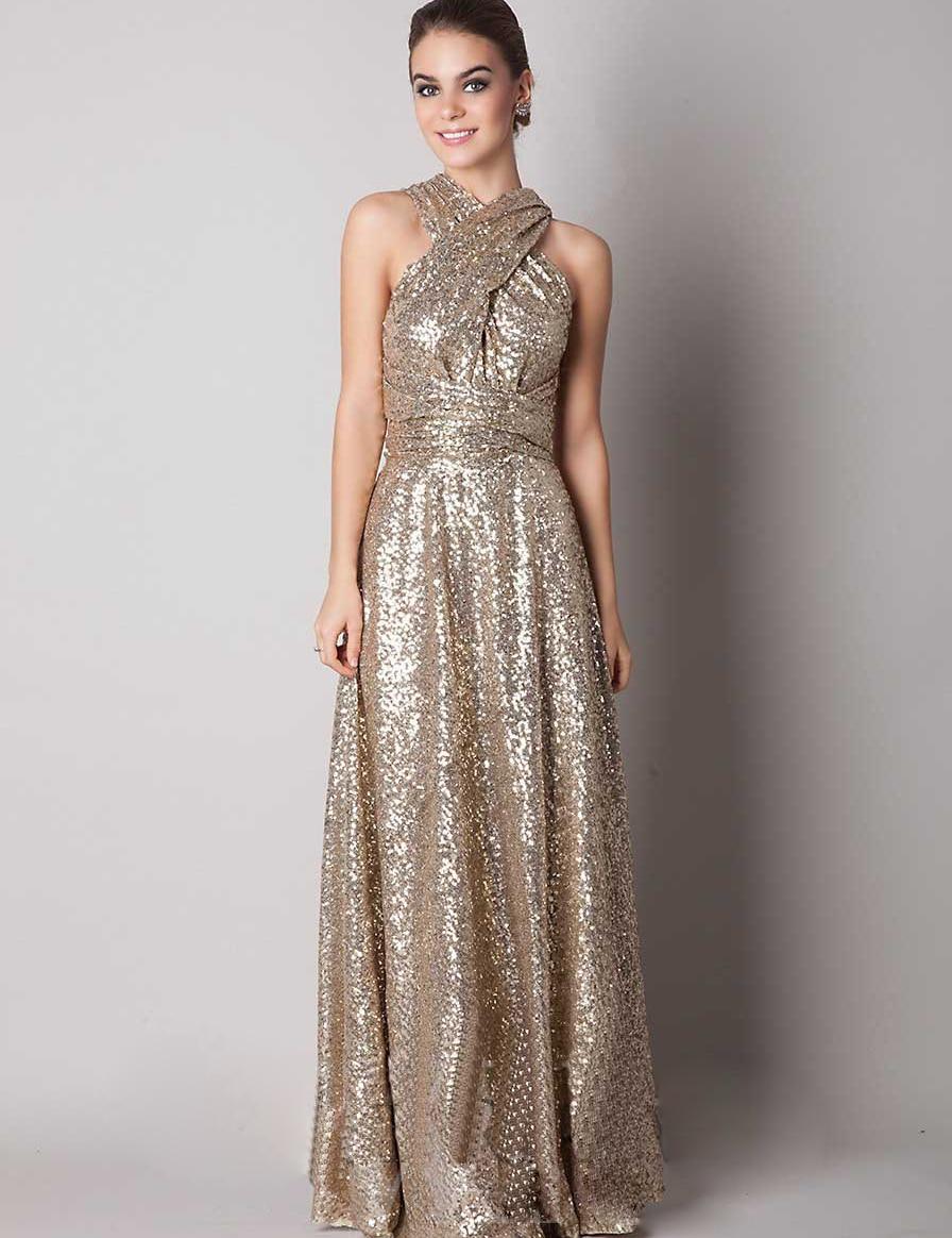 sexy v neck back cross sequin bridesmaid dresses gold color floor length sleeveless vestido longo sexy - Gold Color Dress
