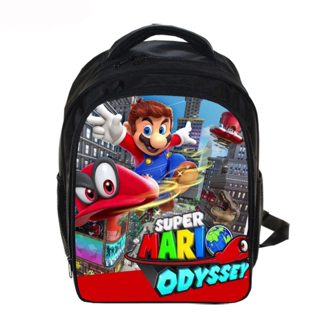 13 Inch Cartoon Mario Sonic Kids Backpack Kindergarten School Bag Children Printing Backpack Girls Boys Mochila