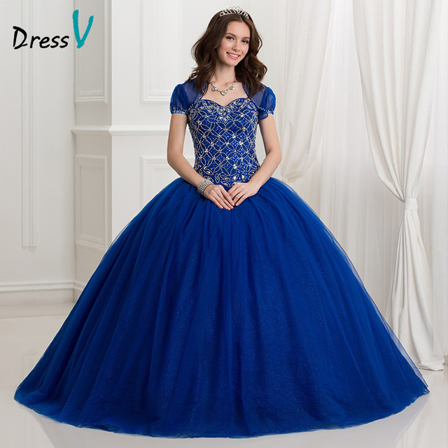 Dressv 2017 Dark Royal Blue Ball Gown quinceanera dress 2 Piece ...