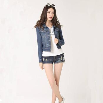 Denim Jacket For Women Cropped Short Jacket Long-Sleeve Jeans Light/Deep Blue 1