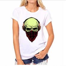 Retro Shirts Short Women Arrival Happy Dj Skull O-Neck Best Friend