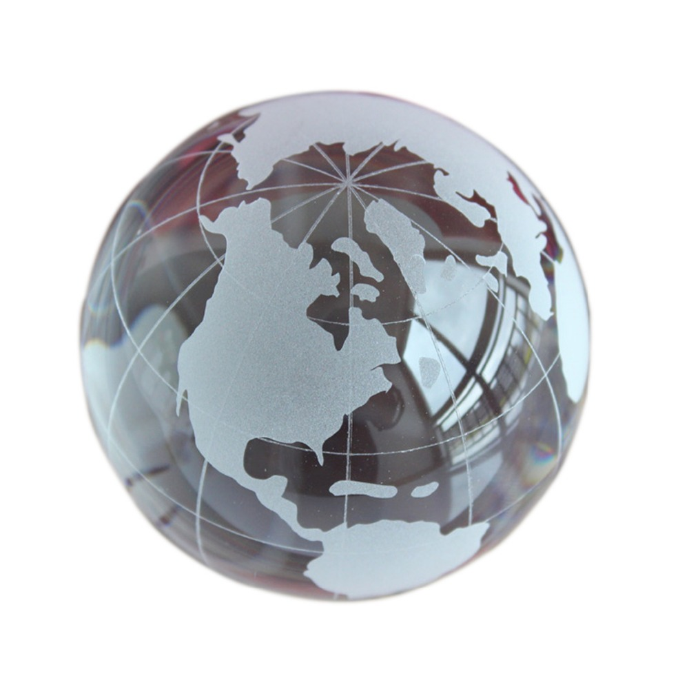 Glass Globe Ball Feng Shui Crystal World Map Ball Home Decoration Accessories