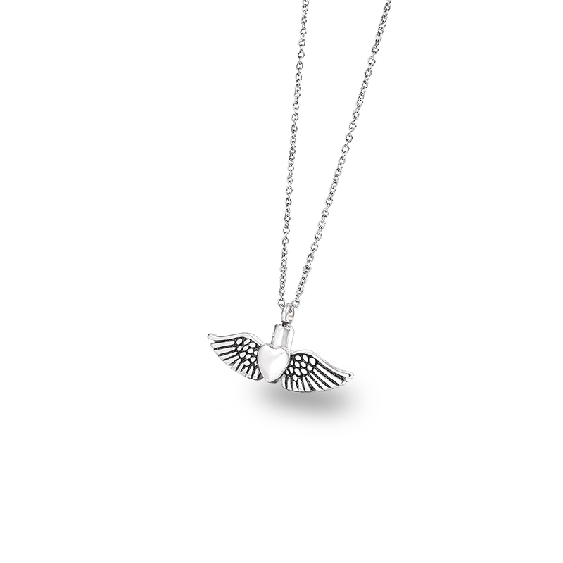 Silver Heart Angel Wings Cremation Jewelry Pendant Keepsake Urn Necklace for Ashes Forever in My