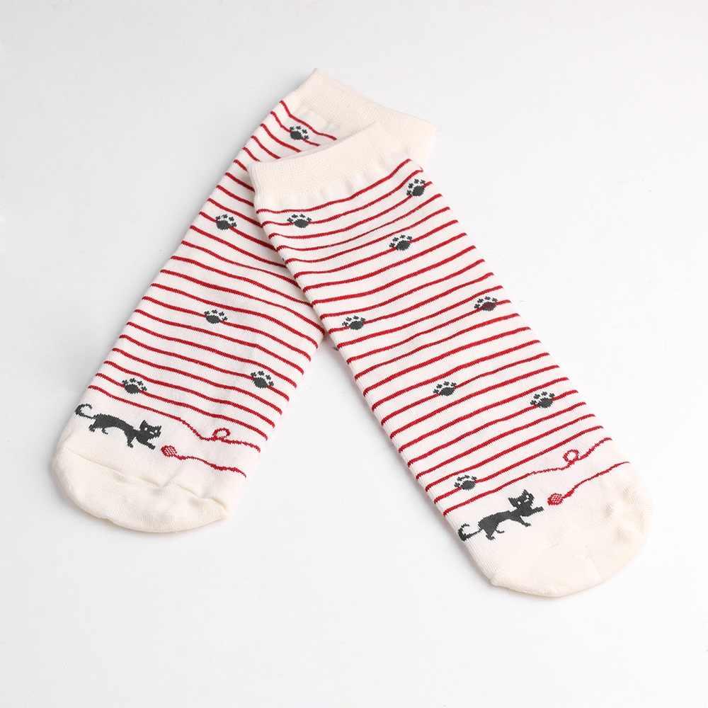 35f338dc5db High Quality Female Cat Footprints 5 Colors Striped Cartoon Socks Women  Cotton Floor length sock for