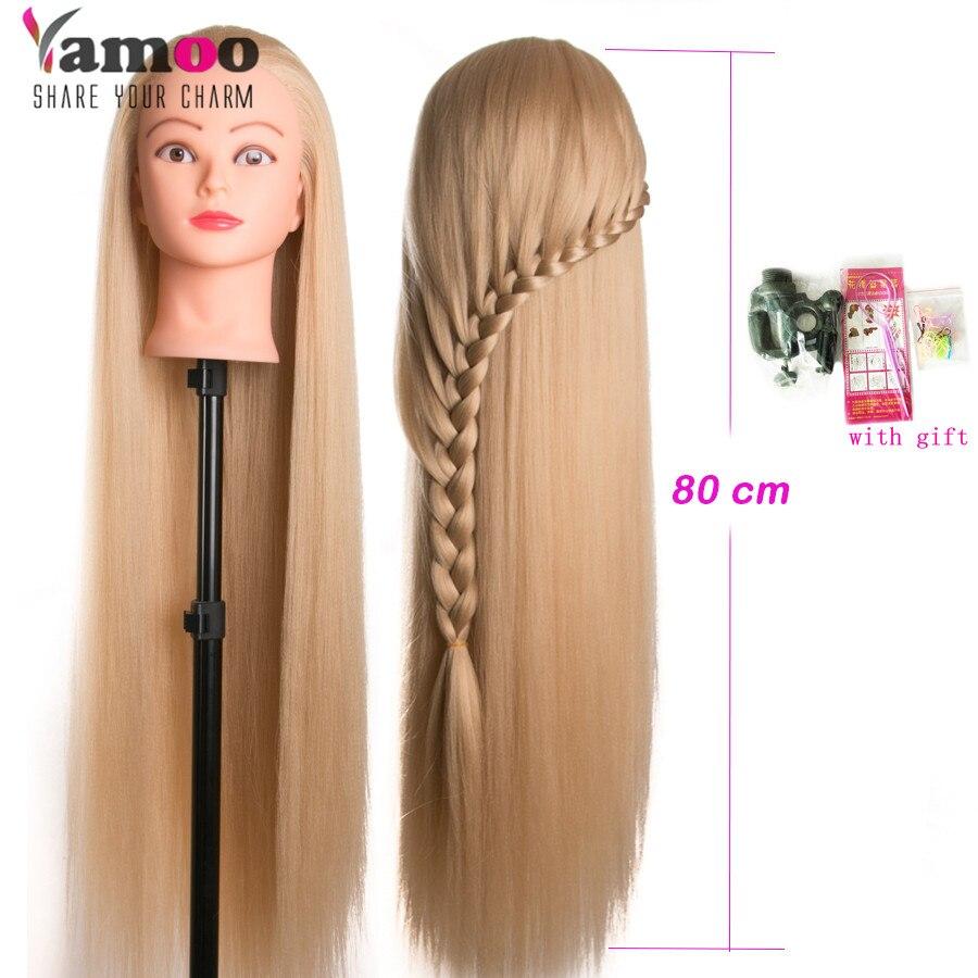 Голова-кукла для парикмахерских, синтетический манекен с волосами 80 см, женский манекен, Парикмахерская, тренировочная голова для укладки