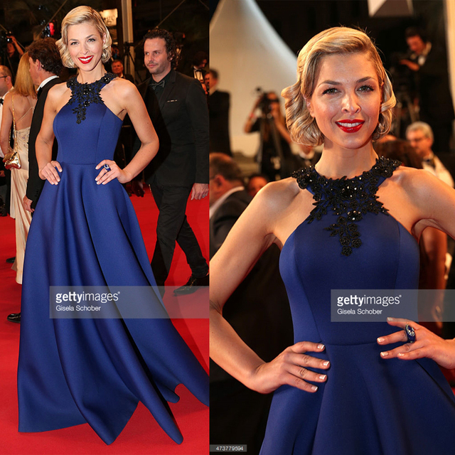 2015 Cannes Red Carpet Celebrity Dresses Eleonore Boccara Royal Blue Famous  Long Beaded Appliques Ruched Imitation Evening Gowns cb369b9bea63