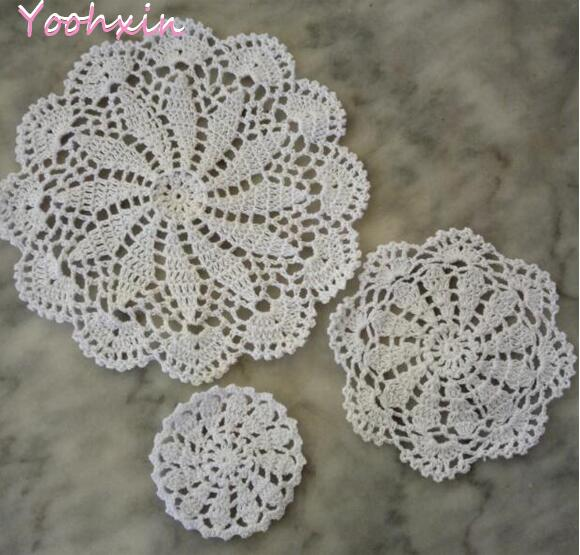Romantic Top Round Lace Crochet Placemat Coffee Cotton Table Place Mat Cloth Doily Cup Tea Coaster Mug Christmas Dinner Dish Pad Kitchen Mats & Pads Kitchen,dining & Bar
