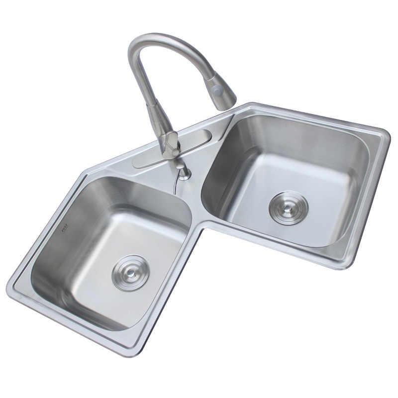 Kitchen Sinks Corner 304 Stainless Steel Double Sink Corner Wash