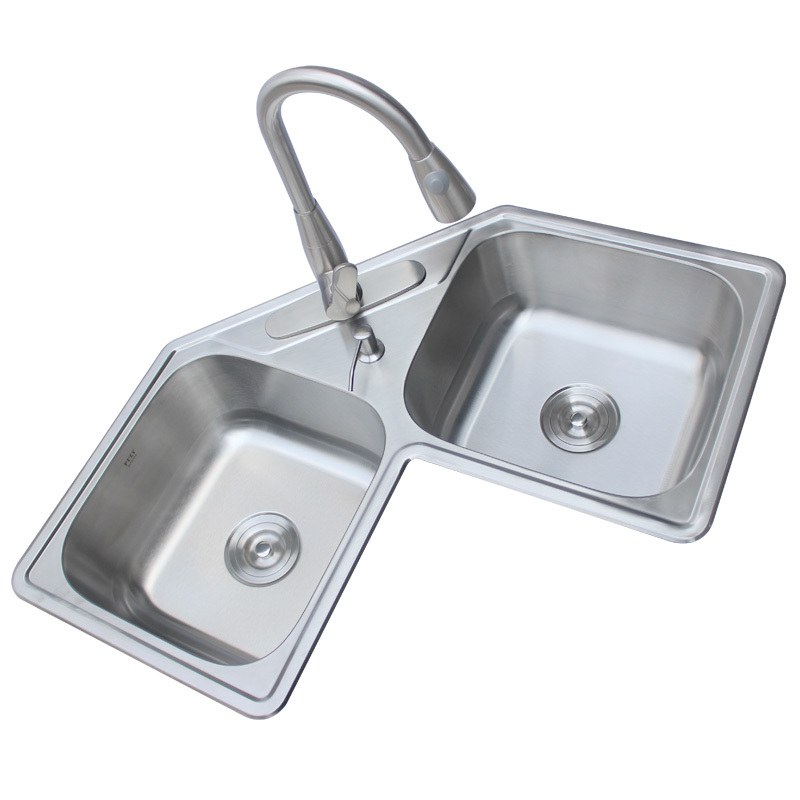US $525.99 |Corner sink kitchen 304 stainless steel double sink corner wash  basin with pulling faucet vegetable fruit wash pool mx3291200-in Kitchen ...