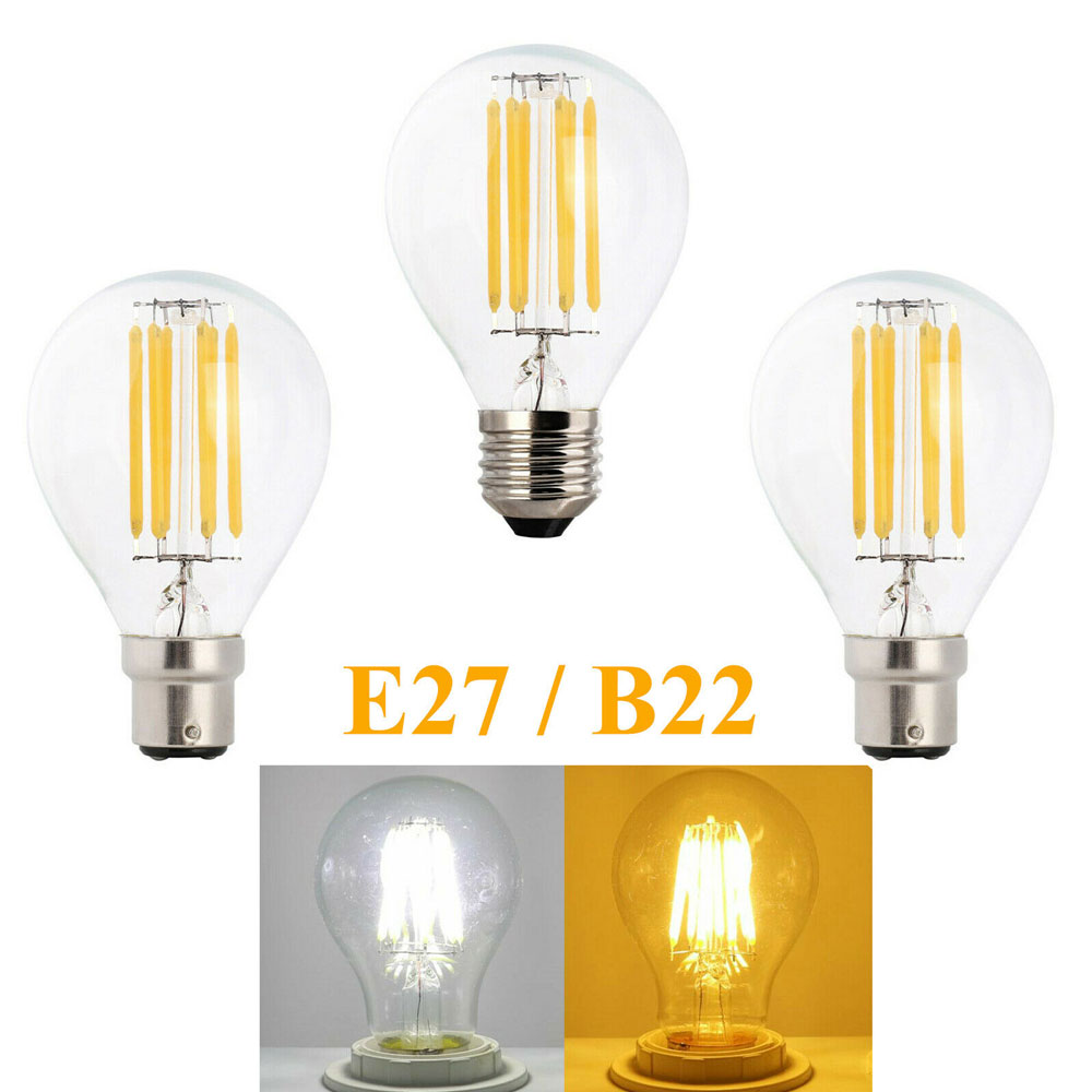 Retro LED Filament Light Lamp E27 2W 4W 6W 8W A60 B22 Bayonet Vintage Edison Led Bulb AC 220V Clear Glass Shell