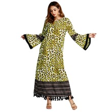 leopard dress women vestido party printed long vestidos O neck summer loose kaftan boho with tassel
