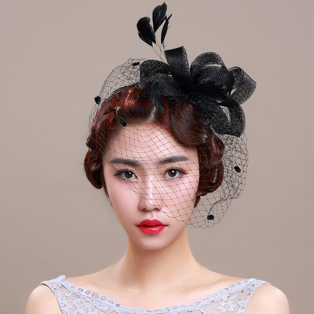 Original Design Black Wedding Veil Hats With Feather And Flower Decoration Romantic Party Small Bridal