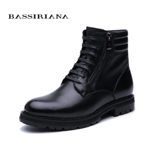 BASSIRIANA winter New 2019 leather mens shoes with fur warm high quality comfortable free shipping