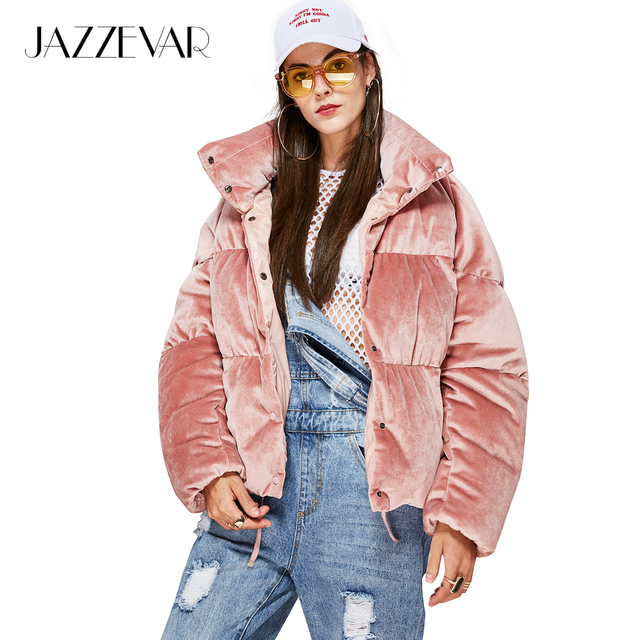12c385f89 US $82.0 59% OFF|JAZZEVAR New Winter Fashion Woman thick 90% down Jacket  velvet MINI Parkas pink sweet Coat cute girl's Warm Outwear-in Down Coats  ...