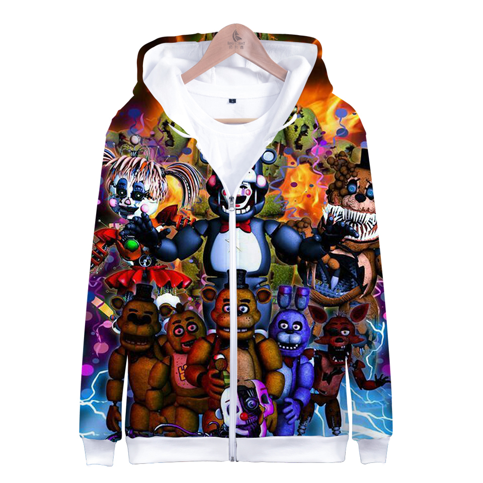 Five Nights At Freddys 3D Hoodies FNAF Children Zipper Hoodie Sweatshirt For Kids Boys Winter Autumn Jacket Coat Clothes