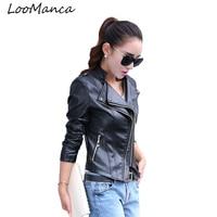 Women Leather Jacket 2017 Spring Autumn PU Leather Motorcycle Jacket Zipper Design Slim Short Female Leather