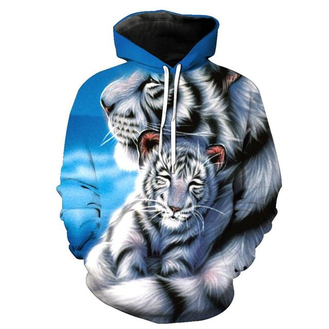 2111904b6ce0 Cute White Tiger Wolf 3D Hoodies Fashion Sweatshirts Men Women Animal Hoody  Tracksuit Unsex Hooded Jacket 6XL Streetwear Coat
