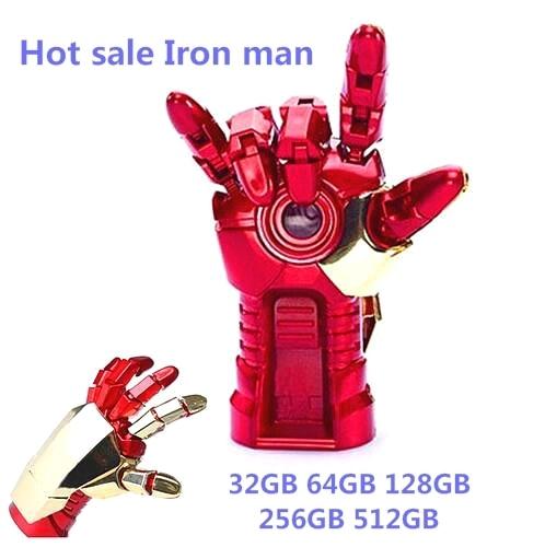 Venda quente homem De Ferro flash drive 128 gb 256 gb 512 gb 64 gb flash usb unidade Real capacidade pendrive Memory Stick USB u disco OTG presente QUENTE