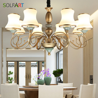 SOLFART Lamp Shade Chandelier Lighting Handmade Glass Shade Classical Retro Bedroom Lamp Copper Color TJ6656