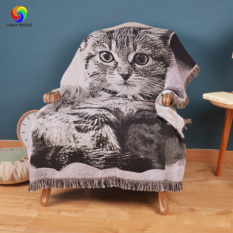 ФОТО LUCKY TEXTILE knitted cat blanket sofa cover American style tapestry vintage multifunction throw on bed/travel decor for home
