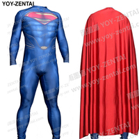 High Quality Muscle Shade Man Of Steel Cosplay Costume Movie Superman Costume Adult Halloween Costume Spandex