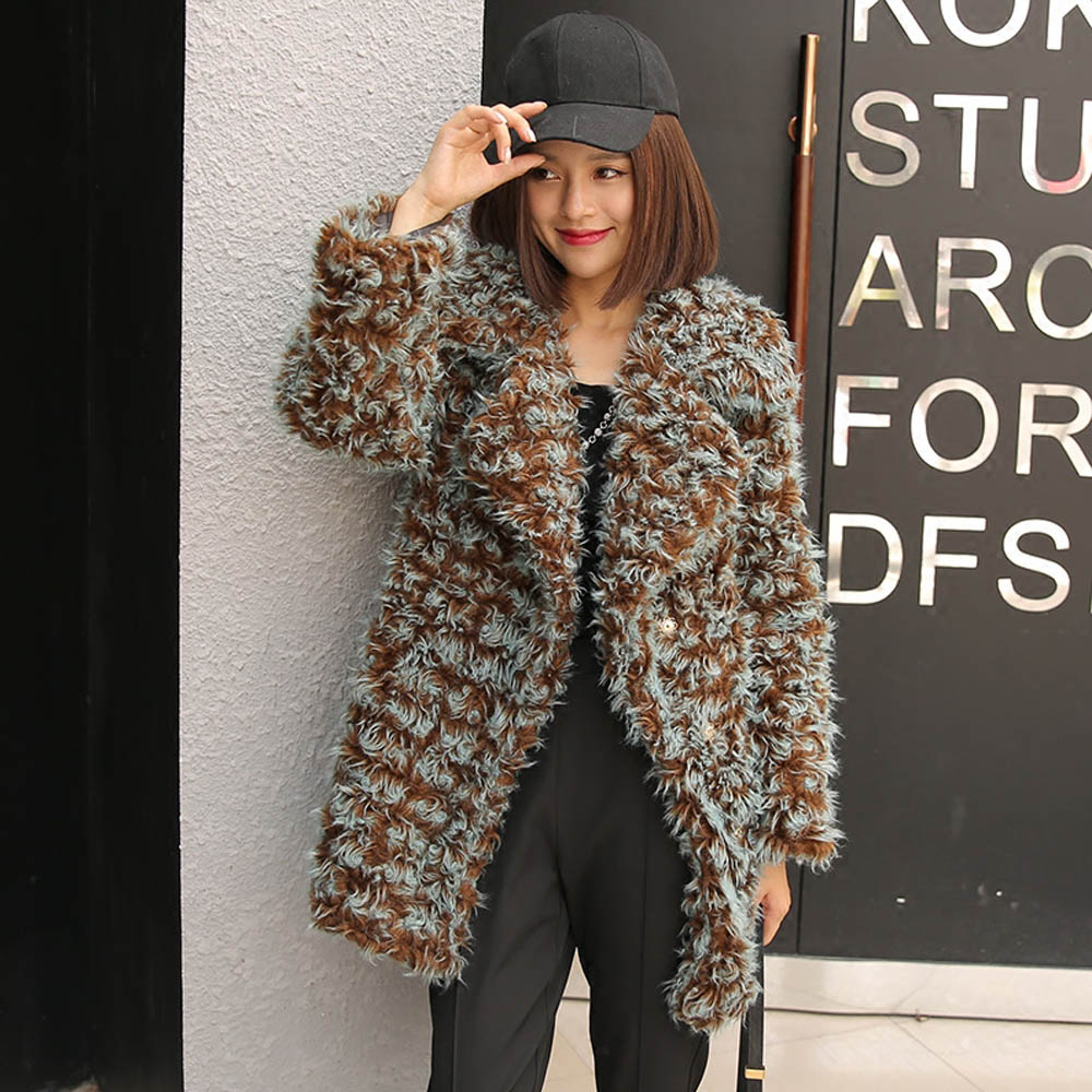 FIRSTTO Stylish Mix Color Curly Long Hairy Shaggy Faux Sheep Fur Coat Lapel Faux Fur Mid Long Coat Women Winter Warm Outerwear цена